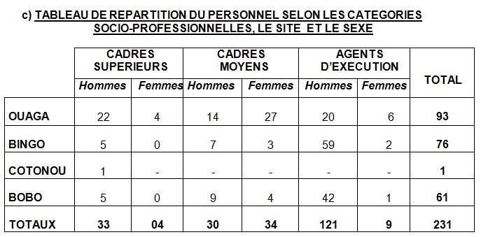 TABLEAU DE REPARTITION DU PERSONNEL SELON LES CATEGORIES  SOCIO-PROFESSIONNELLES, LE SITE  ET LE SEXE
